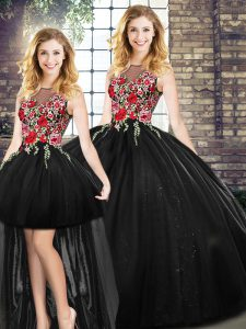 Flirting Floor Length Zipper Quinceanera Gowns Black for Military Ball and Sweet 16 and Quinceanera with Embroidery