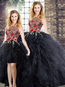 Black Zipper Scoop Embroidery and Ruffles Quinceanera Dress Sleeveless