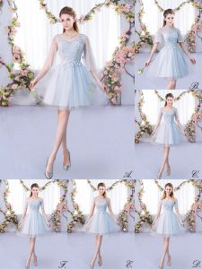 Free and Easy Grey A-line Scoop 3 4 Length Sleeve Tulle Mini Length Lace Up Lace Dama Dress for Quinceanera
