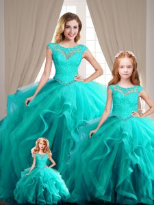 High Class Scoop Cap Sleeves Quince Ball Gowns Beading Aqua Blue
