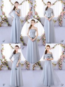 Grey Empire Tulle V-neck Sleeveless Appliques Floor Length Lace Up Dama Dress for Quinceanera