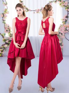 Custom Design Red A-line Scoop Sleeveless Satin High Low Lace Up Appliques Quinceanera Dama Dress