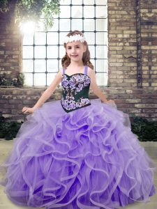 Super Straps Sleeveless Lace Up Little Girl Pageant Dress Lavender Tulle