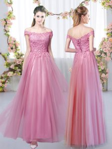 Beauteous Floor Length Empire Sleeveless Pink Court Dresses for Sweet 16 Lace Up