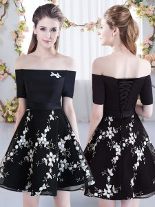 Hot Selling Short Sleeves Mini Length Appliques Lace Up Dama Dress for Quinceanera with Black