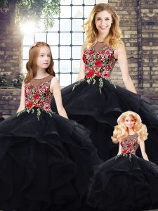 Custom Design Ball Gowns Sweet 16 Dresses Black Bateau Tulle Sleeveless Floor Length Lace Up