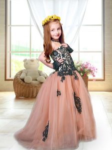 Custom Fit Brush Train A-line High School Pageant Dress Peach Spaghetti Straps Tulle Sleeveless Lace Up