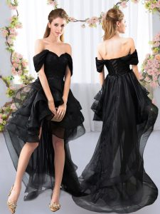 Unique Black Tulle Lace Up Quinceanera Court of Honor Dress Short Sleeves High Low Lace and Ruffled Layers
