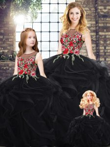 Classical Black Ball Gowns Scoop Sleeveless Embroidery and Ruffles Floor Length Zipper Sweet 16 Dresses
