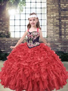 Cheap Organza Sleeveless Floor Length Pageant Dress for Teens and Embroidery and Ruffles