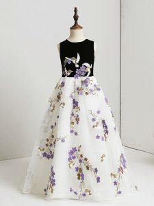 Sweet White A-line Appliques Little Girl Pageant Dress Zipper Printed Sleeveless Floor Length