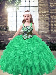 Straps Sleeveless Lace Up Kids Formal Wear Green Organza