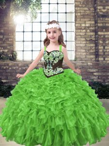 Lace Up Kids Formal Wear Embroidery and Ruffles Sleeveless Floor Length