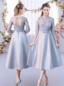 Chic High-neck Half Sleeves Court Dresses for Sweet 16 Tea Length Lace Silver Satin