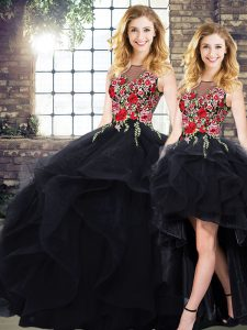 Elegant Floor Length Black Ball Gown Prom Dress Tulle Sleeveless Beading and Embroidery