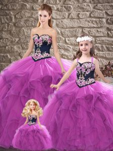 Exceptional Purple Sweetheart Lace Up Beading and Embroidery 15 Quinceanera Dress Sleeveless