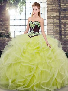Sweetheart Sleeveless Sweep Train Lace Up Quinceanera Gowns Yellow Green Tulle