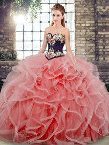 Dramatic Sweetheart Sleeveless Vestidos de Quinceanera Sweep Train Embroidery and Ruffles Watermelon Red Tulle