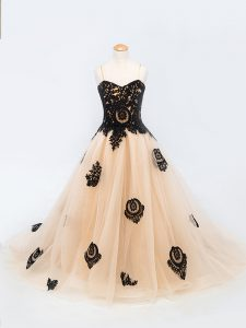 Peach Lace Up Child Pageant Dress Appliques Sleeveless Brush Train