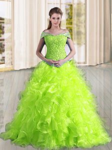 Pretty Yellow Green A-line Beading and Lace and Ruffles Quinceanera Gowns Lace Up Organza Sleeveless