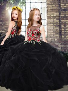 Scoop Sleeveless Tulle Kids Pageant Dress Embroidery and Ruffles Sweep Train Zipper