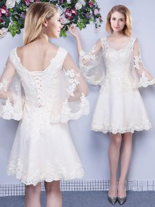 Charming Scoop 3 4 Length Sleeve Lace Up Quinceanera Court of Honor Dress White Tulle