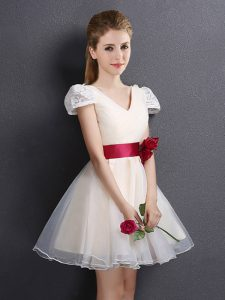 Lace and Hand Made Flower Quinceanera Court of Honor Dress Champagne Lace Up Short Sleeves Mini Length