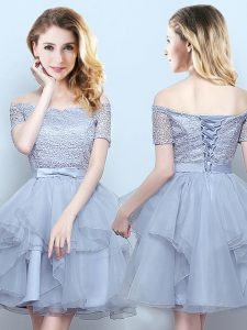 Grey Lace Up Off The Shoulder Lace and Ruffles and Belt Damas Dress Organza Short Sleeves