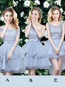 Off The Shoulder Sleeveless Organza Damas Dress Lace and Ruffles and Belt Lace Up