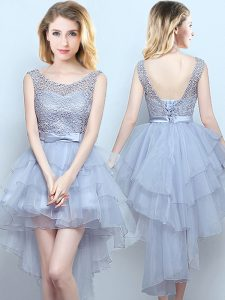 Scoop Grey Sleeveless High Low Lace and Ruffles and Belt Lace Up Quinceanera Court Dresses