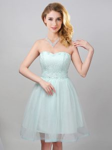 Glittering Apple Green Sleeveless Lace and Appliques Mini Length Dama Dress