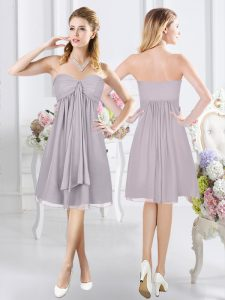 Grey Sleeveless Ruching Knee Length Damas Dress