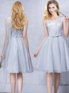 One Shoulder Sleeveless Lace Up Knee Length Lace and Appliques and Belt Dama Dress for Quinceanera