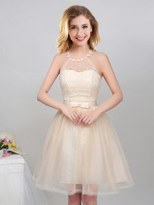 A-line Vestidos de Damas Champagne Halter Top Tulle Sleeveless Mini Length Lace Up