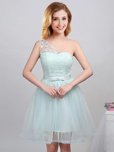 Gorgeous Apple Green Tulle Lace Up One Shoulder Sleeveless Mini Length Quinceanera Court Dresses Lace and Appliques and Belt