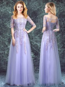 Lavender Square Lace Up Appliques Vestidos de Damas Half Sleeves