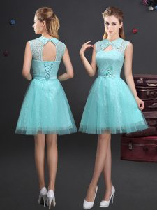 Ideal Aqua Blue Tulle Lace Up High-neck Sleeveless Mini Length Court Dresses for Sweet 16 Lace and Appliques and Belt