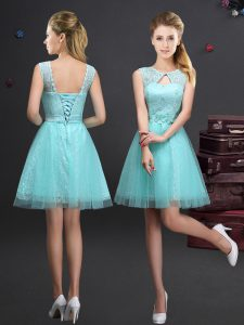 Sophisticated Scoop Aqua Blue Sleeveless Mini Length Lace and Appliques and Belt Lace Up Quinceanera Dama Dress