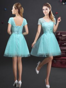 Short Sleeves Lace Up Mini Length Lace and Appliques and Belt Quinceanera Court Dresses