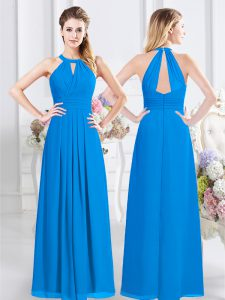 Halter Top Ruching Court Dresses for Sweet 16 Baby Blue Zipper Sleeveless Floor Length