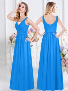 Discount V-neck Sleeveless Damas Dress Floor Length Ruching Baby Blue Chiffon