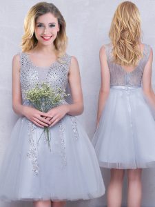 Wonderful Scoop Mini Length Grey Quinceanera Dama Dress Tulle Sleeveless Beading and Appliques