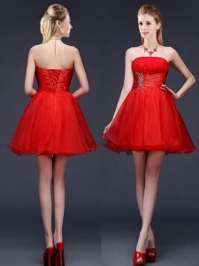 Latest Strapless Sleeveless Lace Up Quinceanera Court of Honor Dress Red Organza