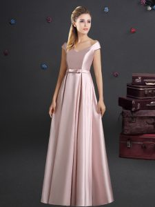 Pretty Off The Shoulder Cap Sleeves Quinceanera Court Dresses Floor Length Bowknot Pink Elastic Woven Satin
