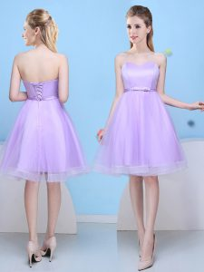 Discount Knee Length Lavender Quinceanera Dama Dress Sweetheart Sleeveless Lace Up