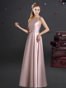 Custom Made One Shoulder Elastic Woven Satin Sleeveless Floor Length Quinceanera Dama Dress and Bowknot