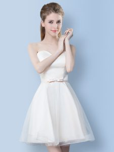 Hot Selling White Sleeveless Tulle Lace Up Quinceanera Court of Honor Dress for Prom and Party