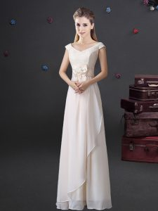 Chiffon Cap Sleeves Floor Length Dama Dress for Quinceanera and Lace and Bowknot
