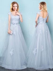 Scoop Light Blue Cap Sleeves Tulle Lace Up Dama Dress for Quinceanera for Prom and Party and Wedding Party