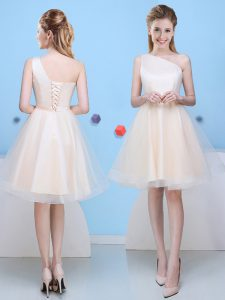 Modern Champagne Quinceanera Dama Dress Prom and Party with Bowknot One Shoulder Sleeveless Lace Up